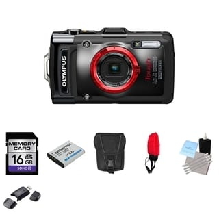Olympus Tough TG-2 iHS Waterproof Black Digital Camera 16GB Bundle