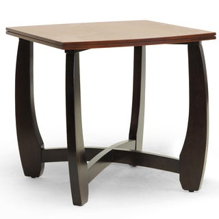 Baxton Studio Straitwoode Cherry and Dark Brown Modern End Table