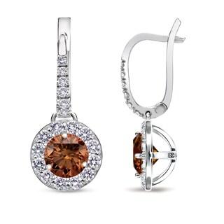 Auriya 14k White Gold 1/2ct to 2ct TDW Brown Diamond Leverback Earrings (SI1-SI2)