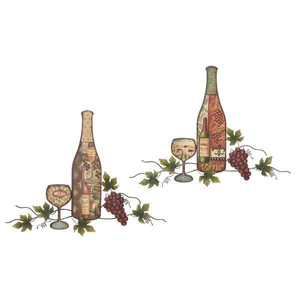Metal Wine Bottle Wall Decor