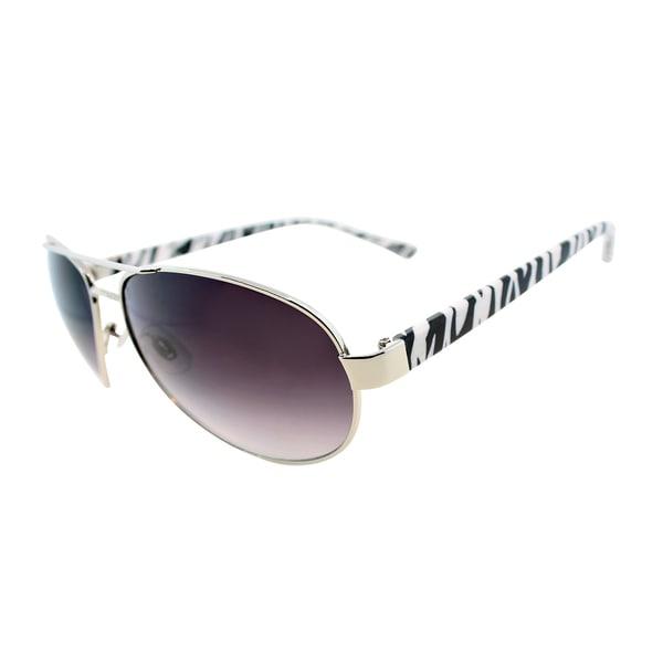 Fantaseyes Women's 'Hot Pursuit' Silver Zebra Metal Aviator Sunglasses