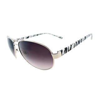 Fantaseyes Women's 'Hot Pursuit' Silver Zebra Metal Aviator Sunglasses