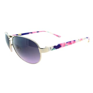 Fantaseyes Women's 'Hot Pursuit' Silver Floral Metal Aviator Sunglasses