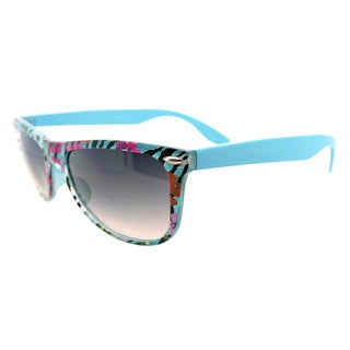 Fantaseyes Women's 'Amazon' Turquoise Zebra Floral Sunglasses