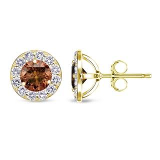 Auriya 14k Yellow Gold Brown and White Diamond Stud Earrings