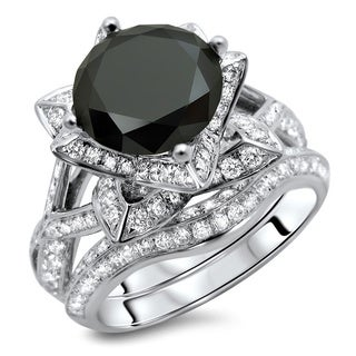 Noori 14k White Gold 3 3/5ct TDW Certified Black Round Diamond Ring and Matching Band (G-H, SI1-SI2)