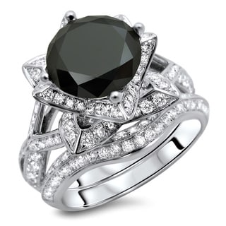 14k White Gold 3 3/5ct TDW Certified Black Round Diamond Ring and Matching Band (G-H, SI1-SI2)