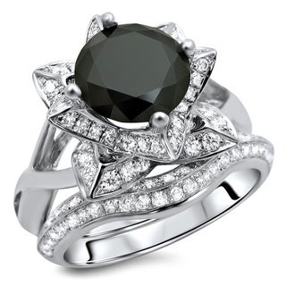 14k White Gold 3ct TDW Certified Black Diamond Ring and Matching Band (G-H, SI1-SI2)