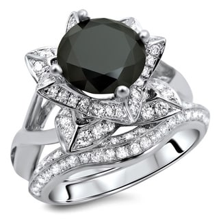 14k White Gold 3ct TDW Black Diamond Ring and Matching Band (G-H, SI1-SI2)
