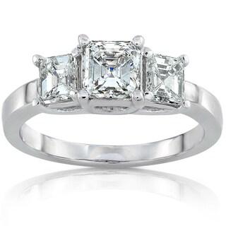 Annello 14k White Gold 1 3/4ct TDW Certified Asscher Diamond Three Stone Ring (H-I, VS1)