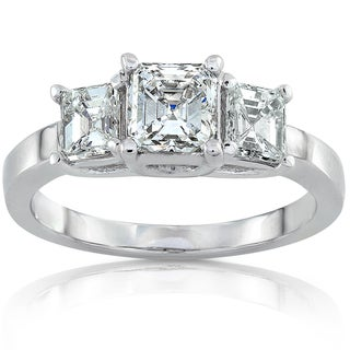 Annello 14k White Gold 1 3/4ct TDW Certified Asscher Diamond Three Stone Ring (H-I, VS1)