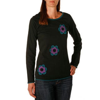 Handcrafted Women's Flower Knit Cotton Top (Nepal)