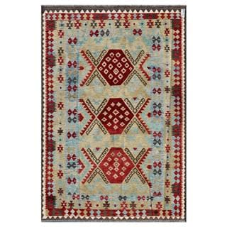 Afghan Hand-woven Kilim Light Blue/ Beige Wool Rug (5'8 x 8'6)
