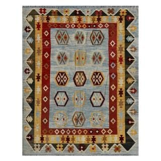 Afghan Hand-woven Kilim Light Blue/ Gold Wool Rug (6'6 x 8'3)