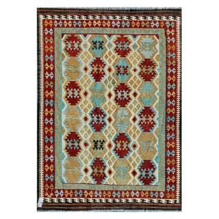 Afghan Hand-woven Kilim Red/ Light Blue Wool Rug (5'11 x 8'2)
