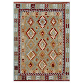 Afghan Hand-woven Kilim Tan/ Red Wool Rug (5'10 x 8'4)