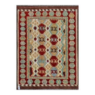Afghan Hand-woven Kilim Red/ Tan Wool Rug (6' x 8'2)