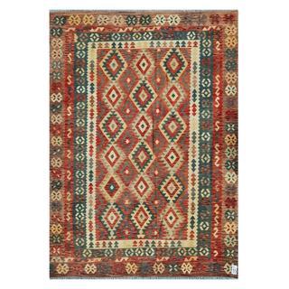 Afghan Hand-woven Kilim Rust/ Ivory Wool Rug (6'8 x 9'8)