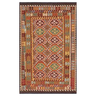 Afghan Hand-woven Kilim Tan/ Orange Wool Rug (6'3 x 9'11)