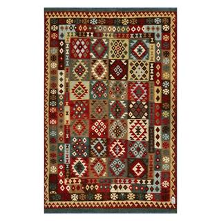 Afghan Hand-woven Kilim Red/ Tan Wool Rug (6'5 x 9'10)
