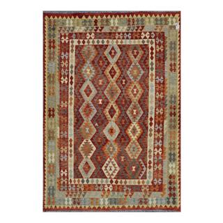 Afghan Hand-woven Kilim Rust/ Orange Wool Rug (6'7 x 9'9)