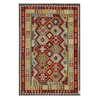 Afghan Hand-woven Kilim Red/ Tan Wool Rug (6'8 x 9'8)
