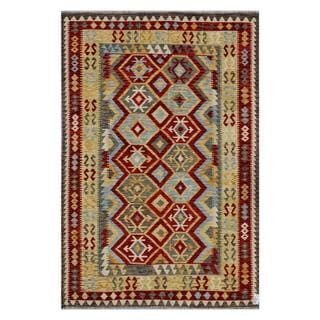Afghan Hand-woven Kilim Red/ Tan Wool Rug (6'8 x 9'8)