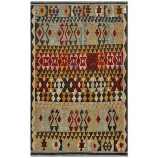 Afghan Hand-woven Kilim Gold/ Olive Wool Rug (6'5 x 10')