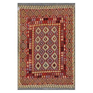 Afghan Hand-woven Kilim Red/ Beige Wool Rug (8' x 13'1)
