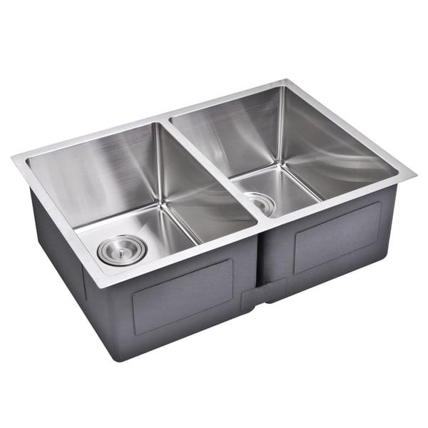 Double Bowl Corner Sink : Water Creation 29-inch X 20-inch 15 mm Corner Radius 50/50 Double Bowl ...