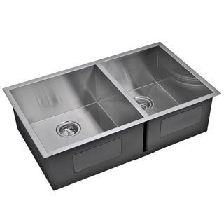 Water Creation Double Bowl Stainless Steel Undermount Kitchen Sink With Drains and Strainers