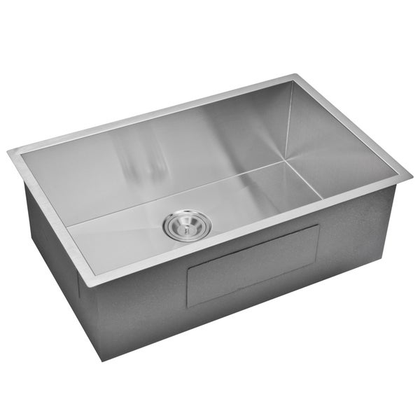 Water Creation 30-inch X 19-inch Zero Radius Single Bowl Stainless Steel Hand Made Undermount Kitchen Sink