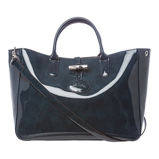 Longchamp 'Roseau' Teal Patent Leather Box Tote