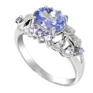 De Buman 14K White Gold Genuine Tanzanite and 1/3ct TDW Diamond Ring (H-I, I1-I2)