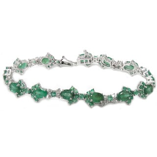 De Buman 14K White Gold Genuine Emerald and 7/8ct TDW Diamond Bracelet (H-I, I1-I2)