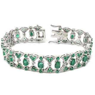 De Buman 14K White Gold Genuine Emerald and 1/2ct TDW Diamond Bracelet (H-I, I1-I2)