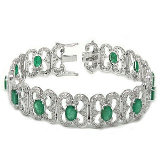 De Buman 14K White Gold Genuine Emerald and 6 1/6ct TDW Diamond Bracelet (H-I, I1-I2)