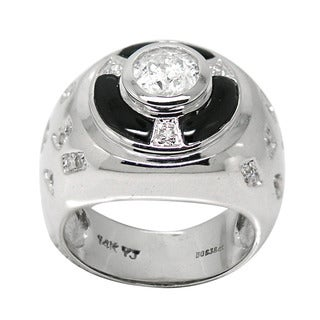 De Buman 14K White Gold 1ct TDW Diamond and Black Agate Ring (H-I, I1-I2)