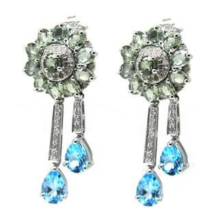 De Buman 14K White Gold Genuine Blue Topaz, Color Sapphire and Diamond Accent Earrings