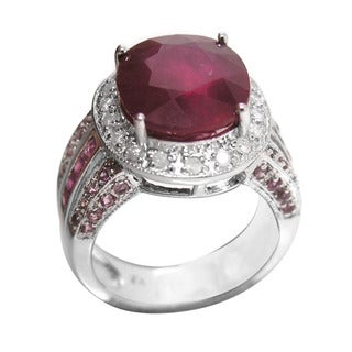 De Buman 14K White Gold Genuine Ruby and 1/3ct TDW Diamond Ring (H-I, I1-I2)