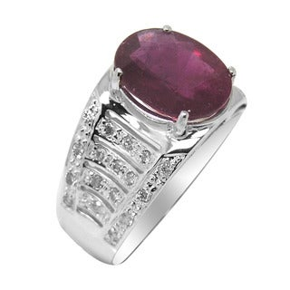 De Buman 14K White Gold Genuine Ruby and Diamond Accent Ring