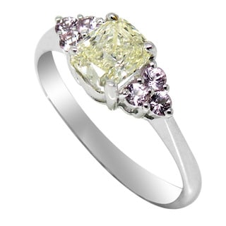 De Buman 14k White Gold 1ct TDW Yellow Diamond and Pink Sapphire Ring