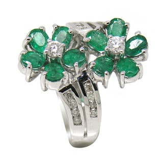 De Buman 14K White Gold Genuine Emerald and 3/8ct TDW Diamond Flower Ring (H-I, I1-I2)