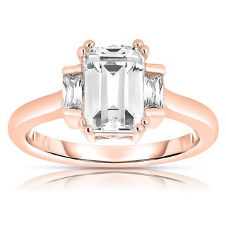 Collette Z Rose Plated Sterling Silver Asscher-cut Cubic Zirconia Ring