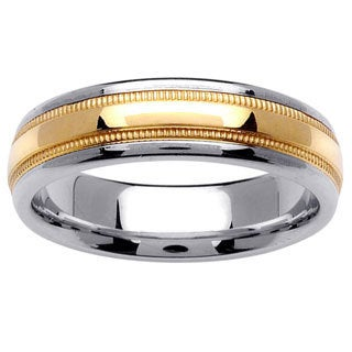 14k Two-tone Gold Men's Comfort Fit Contoured Wedding Band