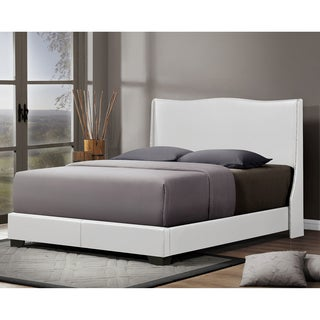 Baxton Studio Duncombe White Modern Bed with Upholstered Headboard - Queen Size
