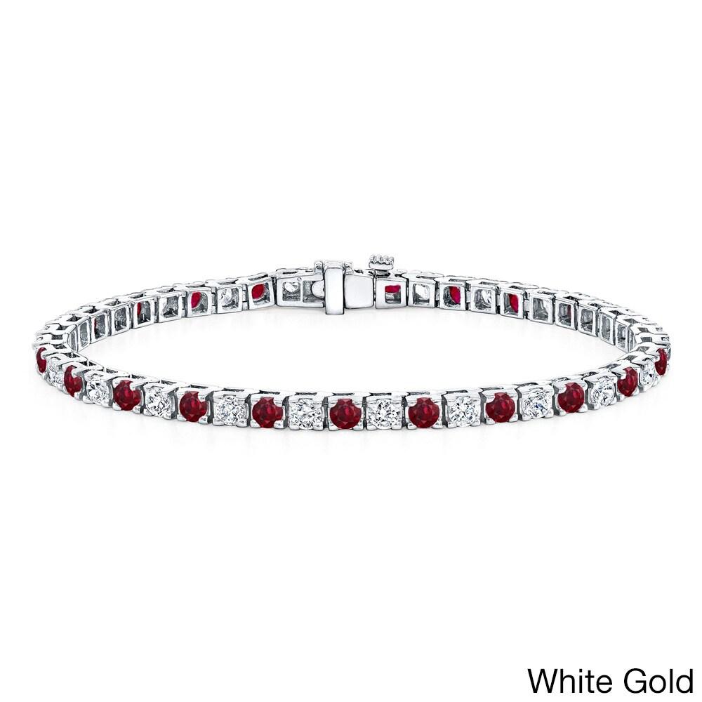 Auriya 14k Gold Ruby 2 1/2ct TDW Diamond Tennis Bracelet (H-I SI1-SI2)