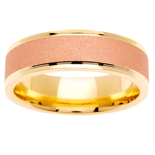 14k Two-tone Gold Men's Textured Comfort Fit Wedding Band