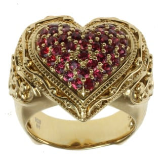 "Dallas Prince Gold over Silver Orange Sapphire ""Heart"" Ring"