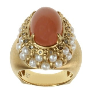 Dallas Prince Gold over Silver Peach Moonstone, Pearl and Diamond Ring